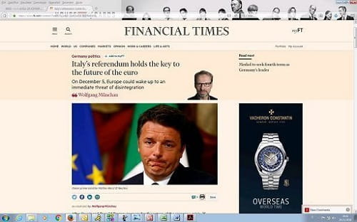 Financial Times e Wsj, fosche previsioni in vista del referendum